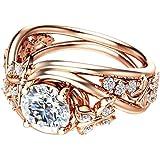 AkoMatial Fashion Rings, Elegant Hollow Rhinestones Butterfly Flower Jewelry Women Engagement Bridal Ring - Rose Gold US…