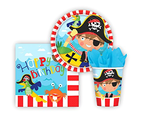 Little Pirate Party Pack! Seats 8 - Cups, Napkins, Plates & Cutlery, Party Supplies
