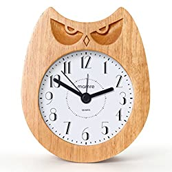 mamre Kids' Room Clocks, Handmade Wooden Art Owl Alarm Clock for Home Décor Children Wake Up Train Gift Pastoral Durable (Angry Owl)