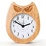 mamre Art Décor Pastoral Durable Wood Alarm Clock for Kids (Angry Owl)