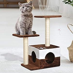 PawHut Rascador para Gatos Árbol Rascador Centro de Actividad Plataformas Caseta Ratón de Juguete 45x33x70cm