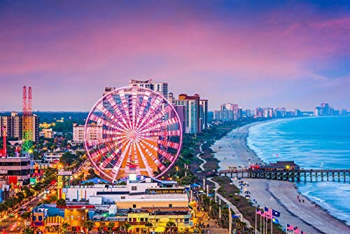 - Myrtle Beach, South Carolina - Colorful City and Beach Skyline - Photography A-94058 (36x54 Giclee Gallery Print, Wall Decor Travel Poster)