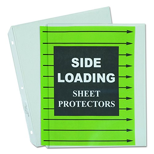 C-Line Side Loading Heavyweight Polypropylene Sheet Protector, Clear, 11 x 8-1/2 Inches, Box of 50 (62313) ()