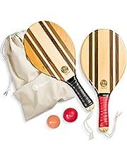 two46   Premium Beach-Bat Set   Frescobol - De populaire sport uit Zuid-Amerika   Handgemaakte, hoogwaardige rackets van hout, bal keuze voor verschillende niveaus, aangepaste tas