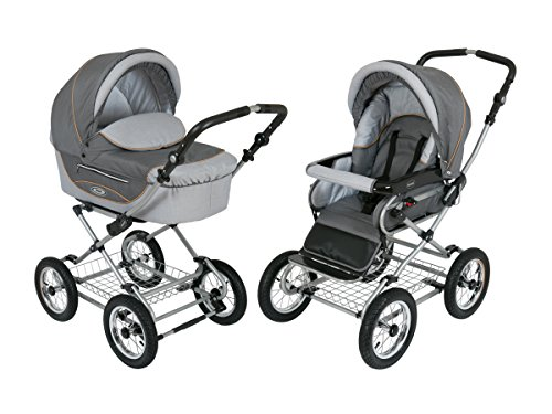 Baby Stroller for Newborn, Infant and Toddler Roan Kortina 2-in-1 Pram with Bassinet, separate Reclining Seat, Air-Inflated Wheels with Five Points Harness Safety and Storage Basket - (Shades of Grey) from Roan
