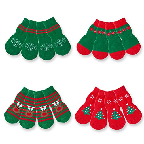 SCENEREAL Christmas Small Dog Socks 4 Pack/Set Anti-Slip Indoor Soft Dog Socks for Hardwood Floors Traction Control Xmas Gifts for Puppy Cats Tiny Pets, XS
