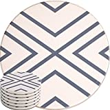 Kyпить Absorbent Coasters For Drinks, Grey-Lines On LARGE Ceramic Stone With Cork Backing, Drink spills Coaster Set of 6 No Holder, OVERSIZE BETTER Protects Furniture From Damage на Amazon.com