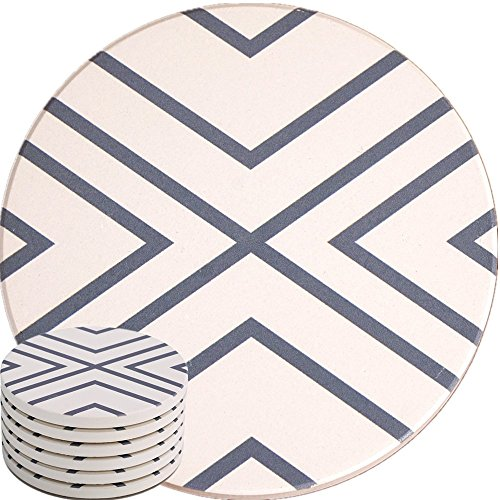 ENKORE Absorbent Coasters For Drinks – LARGE Ceramic Stone With Cork Base, Drink Spills Thirsty Cup Coaster Set of 6 Pack No Holder, OVERSIZE BETTER Protects Furniture – Grey Lines Design