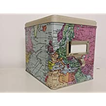 MAP OF THE WORLD - Cartography Design Large Rectangular Storage Tin with LABEL HOLDER and HOOK