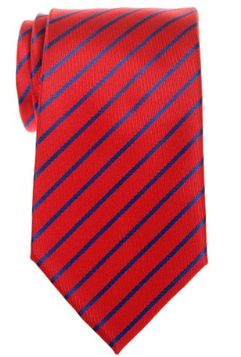Navy Regimental - Retreez Thin Regimental Striped Woven Microfiber Men's Tie - Red with Navy Blue Stripe