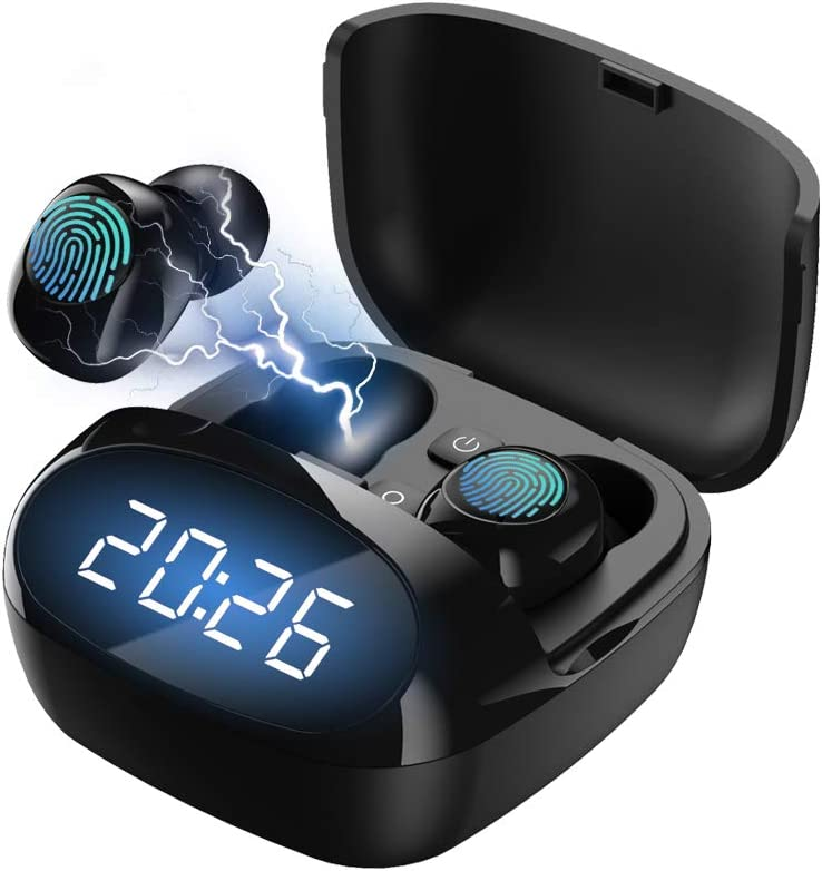 Wireless Earbuds,Bluetooth 5.0 Headphones Touch Control TWS Stereo Charging Case IPX8 Waterproof Wireless Headphones LED Display Time Display for Sports