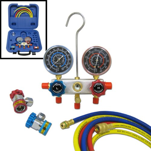 Neiko Deluxe R134A Aluminum AC A/C Manifold Gauges Set with Hose and Adjustable Couplers