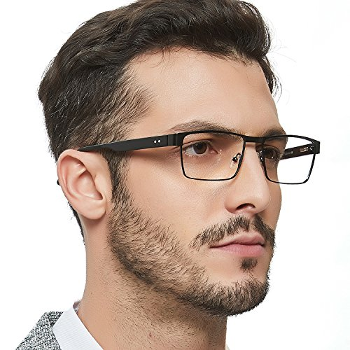 OCCI CHIARI Men Rectange Optical Eyewear Frames with Clear Lenses(Black, 54) by OCCI CHIARI