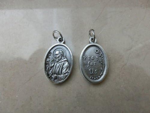 mit Silberring Anh/änger mit Padre Pio und Aufschrift Pray for Us 10 St/ück