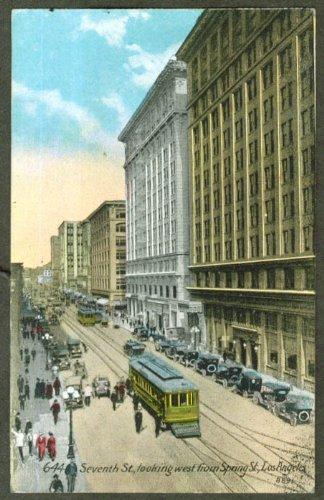 Trolley 7th St west view Los Angeles CA postcard - 7th Los Angeles Ca St