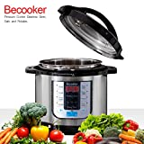 Becooker Programmable Electric Pressure Cooker , 8 Qt 5-in-1 multi cooker , Stainless Steel Pot, Rice Cooker, Slow Cooker, Meat Stew, Sauté, Steamer, and Warm