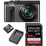 Panasonic Lumix DMC-ZS70 20.3 Megapixel 4K Digital Camera w/ 64GB SD Card & Lumix Battery & Charger Travel Bundle (Silver)