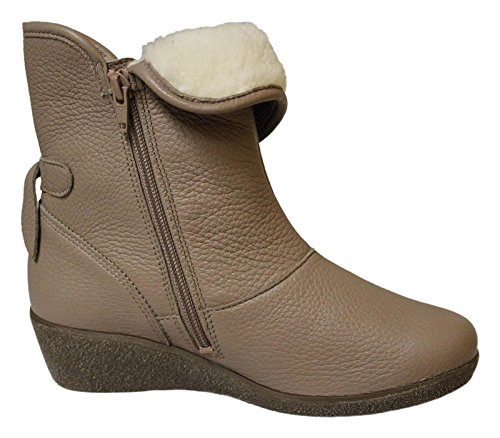 Natural Feet Tessamino Arica Stiefelette Wedge Hirschleder Taupe H