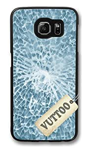 Samsung S6 Case,VUTTOO Cover With Photo: Texture Of Broken Glass For Samsung Galaxy S6 - PC Black Hard Case