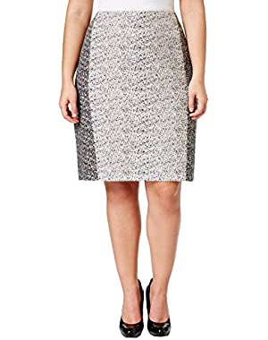 Women's Plus Size Colorblock Tweed Skirt
