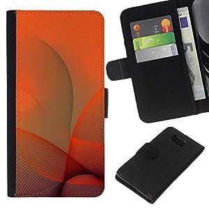 KLONGSHOP // Tirón de la caja Cartera de cuero con ranuras para tarjetas - Naranja Remolinos - Samsung ALPHA G850 //