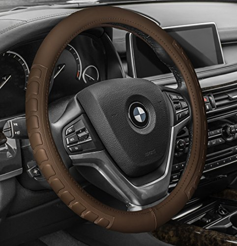 FH GROUP FH2006 FH GROUP FH Group Microfiber Embossed Leather Steering Wheel Cover Brown- Fit Most Car, Truck, Suv, or ()