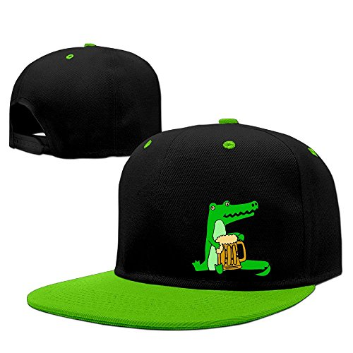 DGJ8GB Unisex Alligator Drinking Beer Hip Hop Flat Brim Snapback Hats Plain Cotton Baseball Cap Hats for Boys Import Beer Girl Costume