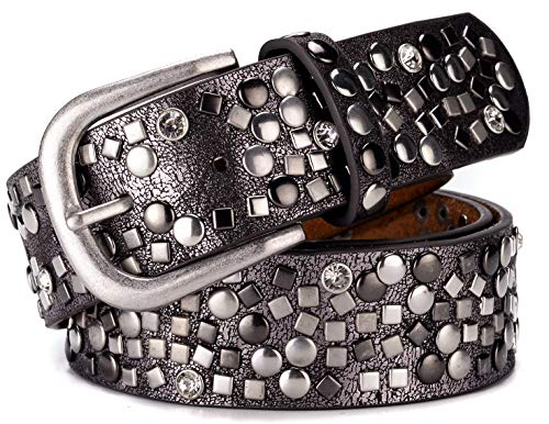 (Ayli Women's Punk Rock Metal Rivets and Rhinestone Handcrafted Genuine Leather Jean Belt, Free Gift Box, Metallic Black, Fits Waist 28