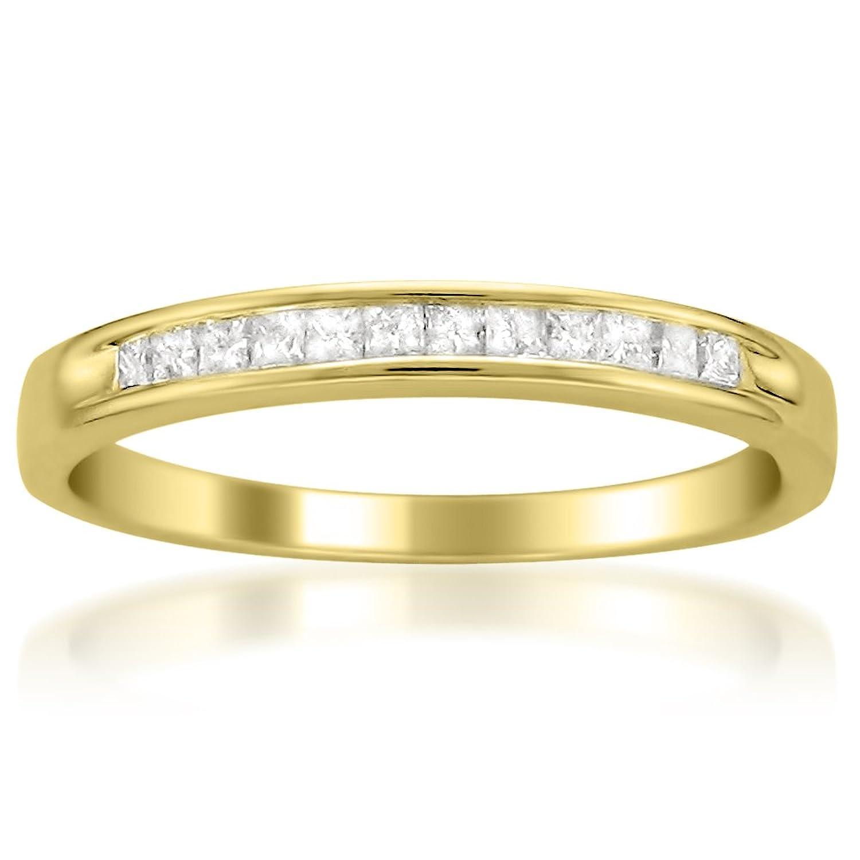 14k Yellow Gold Princess-cut Diamond Bridal Wedding Band Ring (1/4 cttw, I-J, I2-I3)