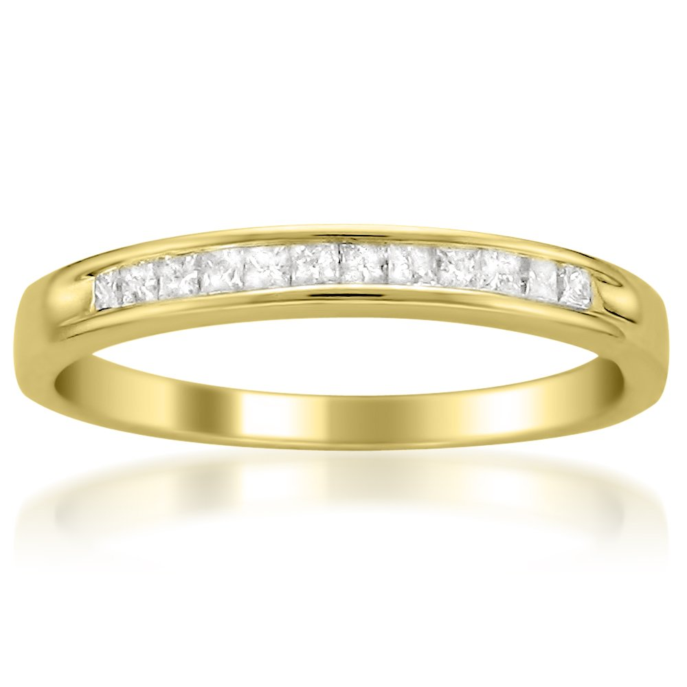 La4ve Diamonds 14k Yellow Gold Princess-cut Diamond Bridal Wedding Band Ring (1/4 cttw, I-J, I2-I3), Size 7