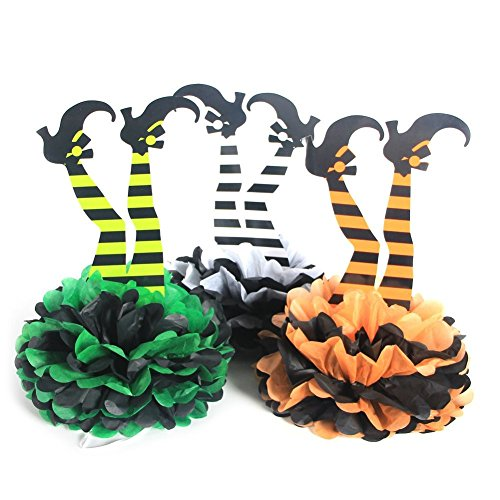 VNFEI DIY Tissue Paper Pom Poms Halloween Witch's Boot Party Hanging Decorations,3 pieces (Witch's Boot) -