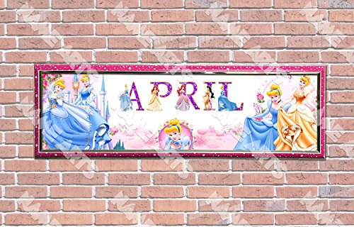 Personalized / Customized Princess Cinderella Name Poster with Frame - Home Wall Decor Birthday Party Door Banner