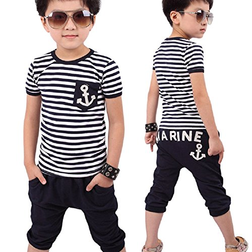 Blackobe Boys Summer Short Shirt Set, Blue And White Striped T-Shirt+Pants (6-7Y/130, Blue) ()