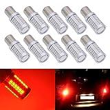 KATUR 10pcs BAU15S 7507 1156PY P21W 5630 33-SMD Red 900 Lumens 8000K Super Bright LED Turn Tail Brake Stop Signal Light Lamp Bulb 12V 3.6W