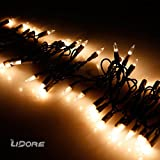 LIDORE Super Bright Clear Mini Christmas tree Lights. Best Gift for Decoration. End to End Connection. 100 Count Bulbs on Brown wire