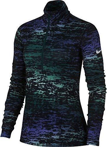 Nike Women's Pro Warm Ink Stripe Half Zip Long Sleeve Shirt(Dk Atomic Teal, L)