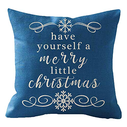 ITFRO Sister Birthday Have Yourself A Merry Little Christmas Snowflakes Blue Cotton Burlap Linen Throw Pillowcase Cushion Cover Sofa Outdoor Decorative Square 18x18 Inches (Have Yourself A Merry Little Christmas Notes)