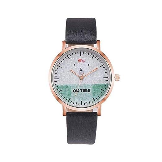 Scpink Mujeres Relojes de Cuarzo, Liquidación analógica señoras Lindas Relojes de Pulsera Relojes de niña de Cuero Redondo Femenino (Negro): Amazon.es: ...