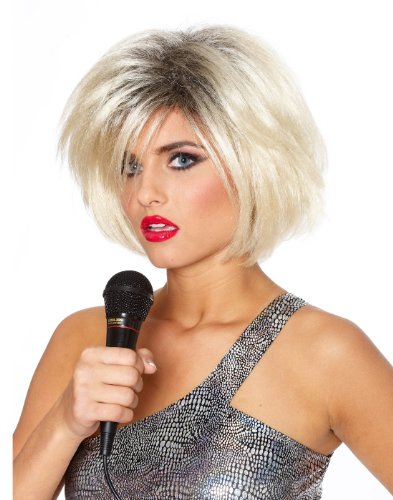 80's Diva Blondie Rock Star Retro Singer Blonde Teased Hair Women Halloween Wig ()