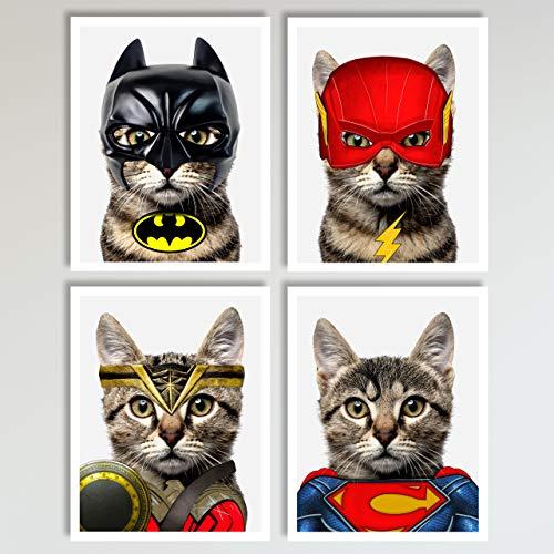 Justice League Cats 4 Piece Set - Batman, Flash, Superman, Wonder Woman Prints - Neutral Wall Decor, Home and Kids Bedroom Superhero Decor Wall Art Posters 4 Piece Set, 11 x 14 inches each Unframed