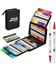 120 Colors Art Marker Pen Set Dual Tip Brush Pen Extra Fine Tip Drawing Book, Water Based Drawing Brush Marker Paint Pen for Calligraphy Drawing Sketching Coloring Bullet Journal