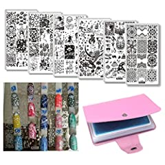 6Pcs Creative Design Nail Stamping Plates Flower Star Ocean Theme Template Mermaid Girl Image Stamping Plate with 1pcs Templates Bag Leather Plate HolderFeature: Nail stamping plate A professional Nail Art Gift for yourself or your girlfriend...