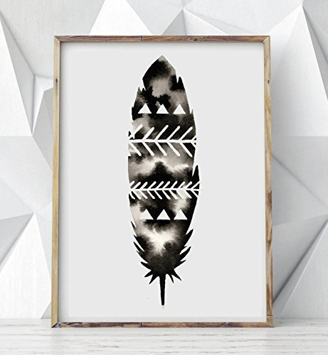 Amazon com scandinavian feather print black white geometric feathers artwork minimalist art handmade