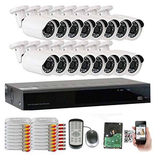 GW Security 16 Channel HDMI CCTV 1.3MP Security Surveillance DVR System with 16 x 1300TVL 720p High Resolution Weatherproof Security Cameras and Pre-Installed 3TB Hard Drive