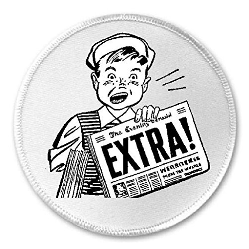 """Extra Read All About It - 3"""" Sew / Iron On Patch Newspaper News Boy"""