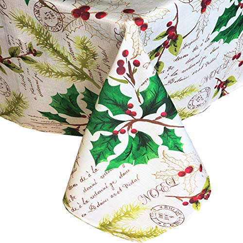 Newbridge Holly Joy Christmas Holiday Fabric Tablecloth, Peace, Joy, Noel Xmas Print Cloth Tablecloth, 60 Inch x 144 Inch Oblong/Rectangle