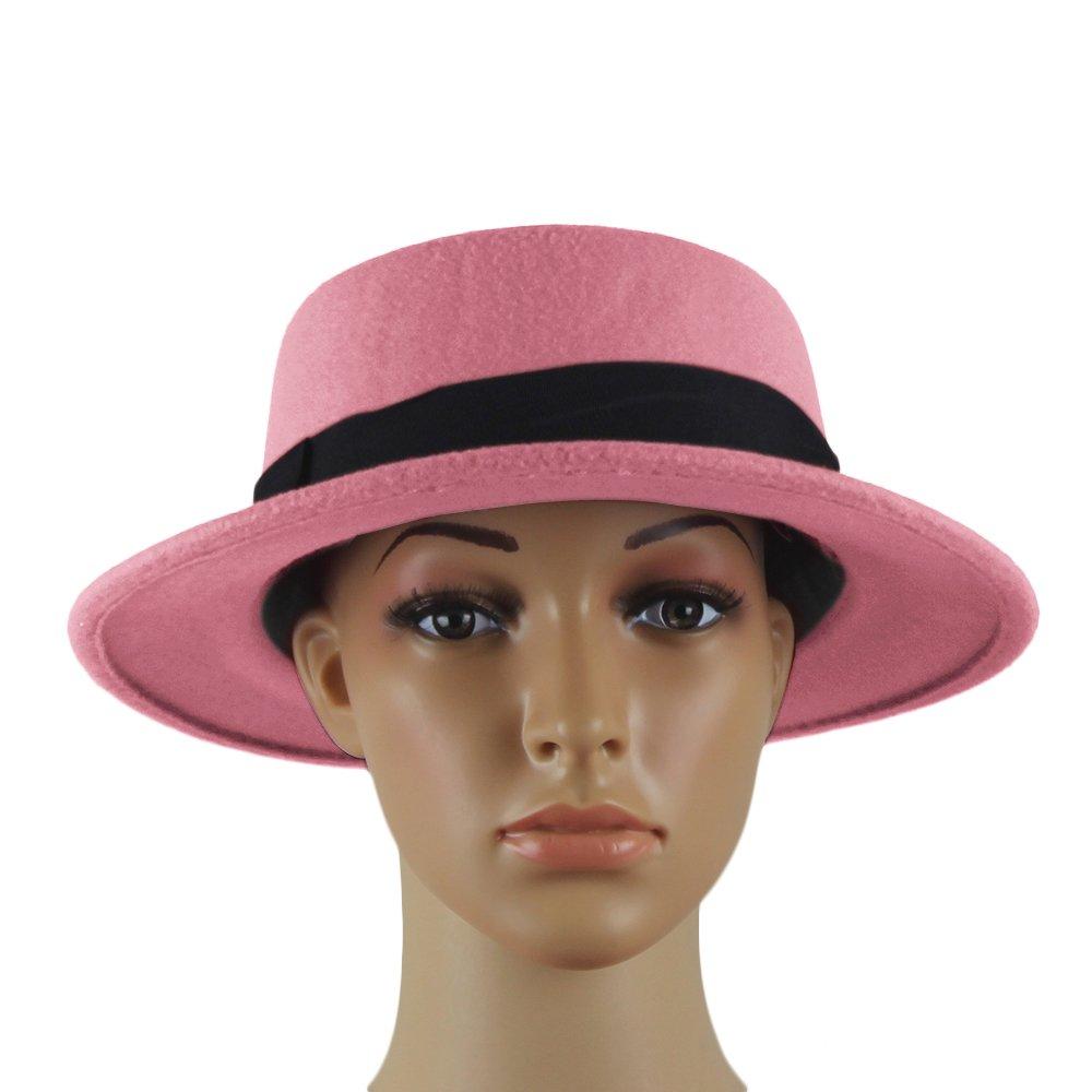 Norboe Women's Brim Fedora Wool Flat Top Hat Church Derby Bowknot Cap (Pink)