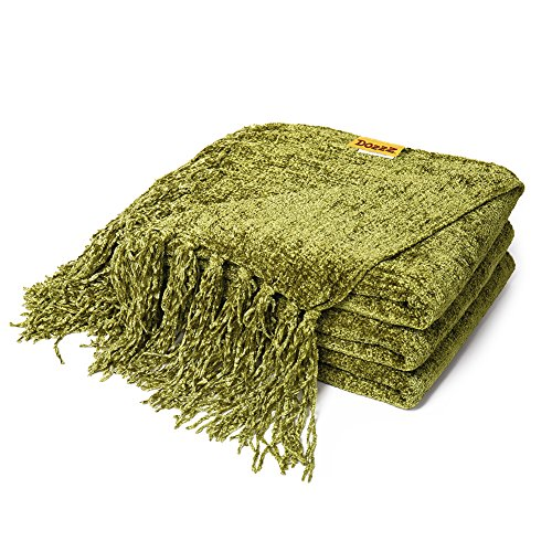 DOZZZ Decorative Chenille Thick Couch Throw Blanket with Fringe Cozy Solid Blanket 60 x 50 Inch, Olive Green
