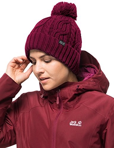 """Jack Wolfskin Storm Lock Pompom Beanie Knitted Hat, Dark Ruby, One Size(22-24"""")"""