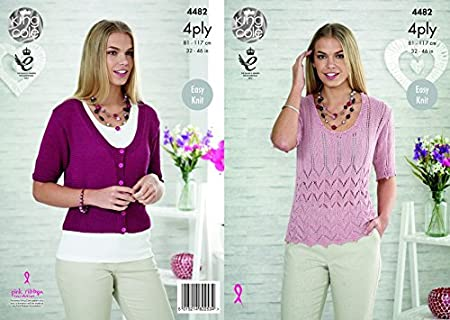 2ba66e9d2 Image Unavailable. Image not available for. Colour  King Cole Ladies Top    Cardigan Bamboo Cotton Knitting Pattern 4482 4 Ply